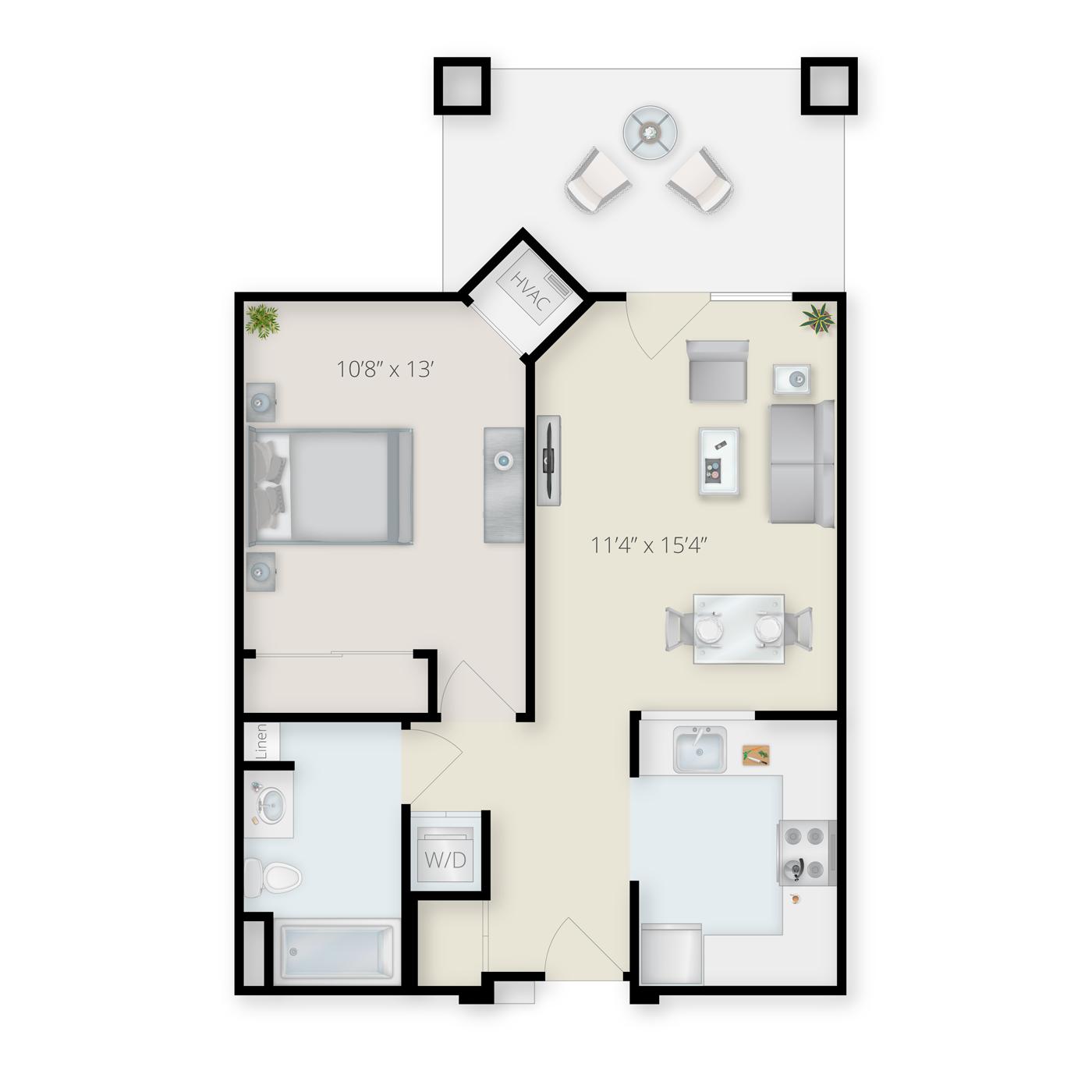 One Bedroom Traditional Floor Plan