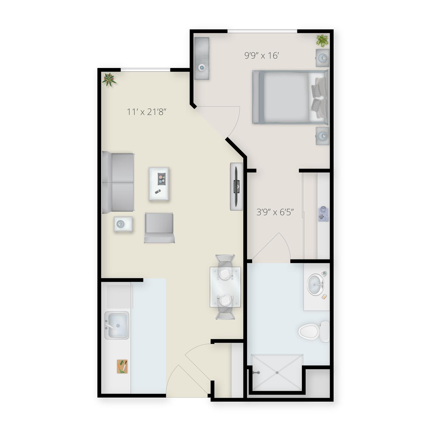 One Bedroom Residential Care Floor Plan